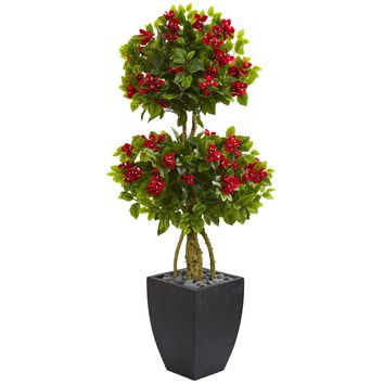 5' Double Ball Bougainvillea Artificial Tree in Black Wash Planter