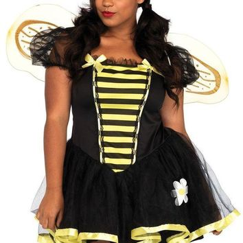 DCCKLP2 3PC.Daisy Bee,tutu dress,wings,and antennae headband 1X-2X BLACK/YELLOW