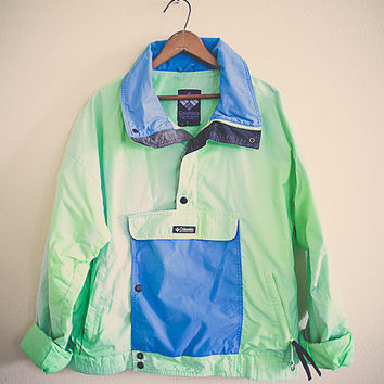 80's Columbia  Windbreaker Neon Green Blue Turquoise Jacket Coat Medium Hipster Preppy 80s Club Kid  Oversized Slouchy Front Pocket