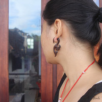 "Tribal Earring Fake Gauge Wood , Sono ""Lugra"" Fake Taper Earrings, Bali Earring, Tribal Handmade Faux Gauge Earring"