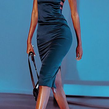 Step To The Beat Dark Teal Satin Sleeveless Spaghetti Strap Square Neck Cut Out Sides Bodycon Midi Dress