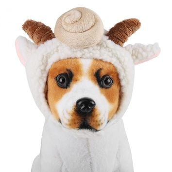 Funny Pet Cat Dog Caps Sheep Hats Party Holiday Pet Costume Cosplay Dog Grooming Headwear Sheep Design Dog Cap Plush Warm Hat