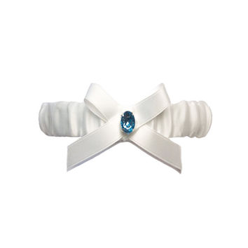 Ivory Satin Bride Wedding Garter with Blue Rhinestone and Bow Knot