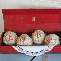 L...O...V..E.. a set of 4 large decorative rope balls stenciled with LOVE/valentine's day decor