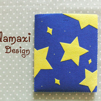 Handmade Felt Starry iPad Sleeve Case, Felt iPad Cover, Starry Starry Night Kindle Case, Cute Felt Kindle Sleeve Cover, Custom iPad Cover