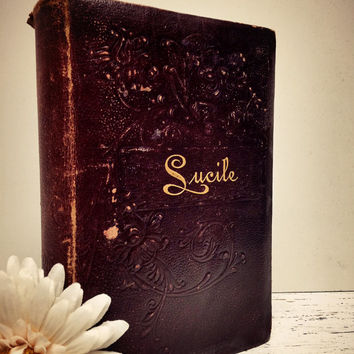 Lucile, Lucille, Owen Meredith, Poetry, Ringbearer Books, Antique Poetry Book, Photo Prop Book, Shabby Chic, Book Gift, Antique Book Decor