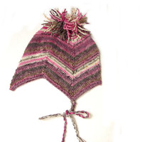 Pink striped baby hat and socks, aviator hat with fringes, choose only hat or hat with socks, size 6-18 month READY TO SHIP