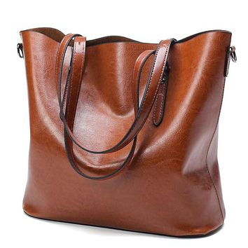 Women PU Oil Wax Leather Large Capacity Tote Handbag