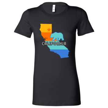 California Bear State Stripes Ladies Lightweight Fitted T-Shirt