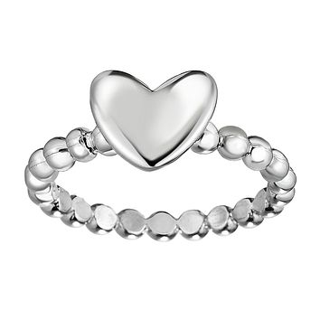 Sterling Silver Puffy Heart Ring, Size 7