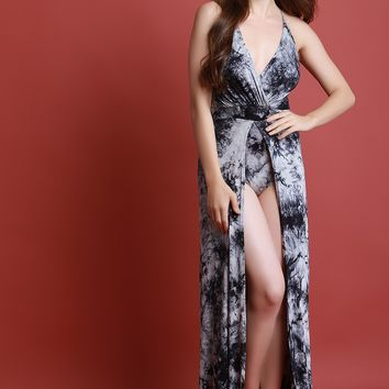 Tie Dye Open Front Crisscross Back Bodysuit Maxi Dress