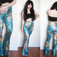 Custom GALAXY Tie Dye Stretch Bell Bottom Flares by iconoclasp