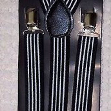 Goth Unisex Men's Women's Black White Vertical Stripes Adjustable Suspenders-New