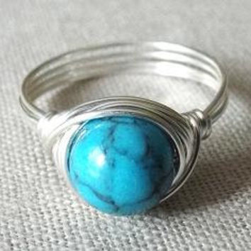 Turquoise Ring - Southwestern Jewelry - Simple Ring - Wire Wrapped Ring - Cute Ring - Turquoise and Silver - Wire Wrapped Jewelry Handmade