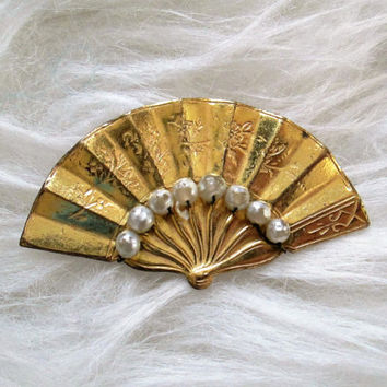 Vintage Miriam Haskell Signed Gold Seed Pearl Fan Brooch