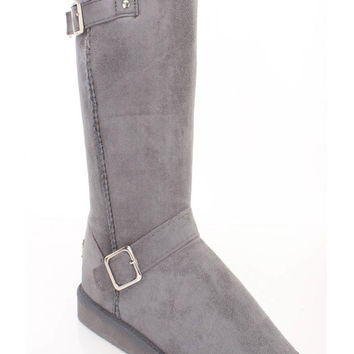 Grey Faux Fur Trimmed Strappy Boots Faux Suede