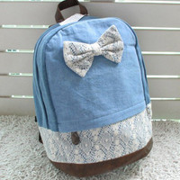 Cheap Fashion Denim Bowknot Lace Canvas Schoolbag & Backpack