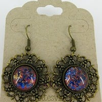 Antiqued Gold-tone Orange and Blue Glitter Glass Medallion Dangle Earrings Hand-painted