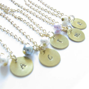 5 Initial Necklace Custom Hand Stamped Personalized Bead Charm Pendant Chain Birthday Wedding