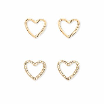 Cutout Heart Stud Earring Set