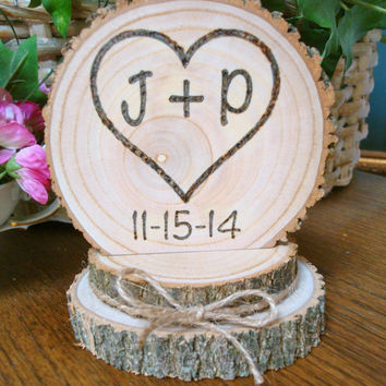 Rustic Wood Cake Topper Wedding Heart Initials Personalized Romantic