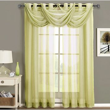 Soft Gold 50x63 Abri Grommet Crushed Sheer Curtain (Single Panel)