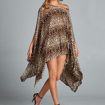 Poncho Style Oversized Leopard Tunic Top
