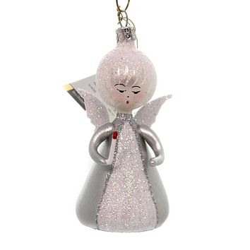 De Carlini LITTLE ANGEL WITH CANDLE Christmas Ornament Heavenly An149 Silver