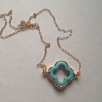 Turquoise clover gold necklace