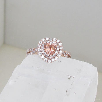 Heart Shape Peach Sapphire Infinity Engagement Ring 14k Rose Gold Diamond Halo Weddings Anniversary