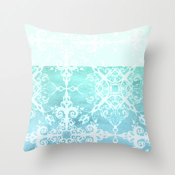 Mermaid's Lace - White Patterned Aqua / Mint Watercolor Wash Throw Pillow by micklyn