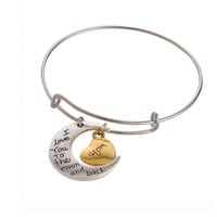 "Beautiful Engraved Message ""I Love You to the Moon and Back Mom"" Silver Charm Bracelet"