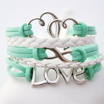 5 Strand Mint Green and White Infinity Love Hearts Faux Leather Braid Cord Bracelet (Adjustable Sizing)
