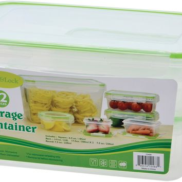 12 Piece Rectangular Plastic Container with Click & Lock Lids Set - CASE OF 6