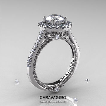 Caravaggio 14K White Gold 1.0 Ct White Sapphire Diamond Engagement Ring, Wedding Ring R621-14KWGDWS