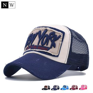 5 Panel NY Baseball Cap with Mesh Brand Snapback Hat Trucker Cap New York Baseball Caps Men Women Girls Boys Summer Mesh Cap
