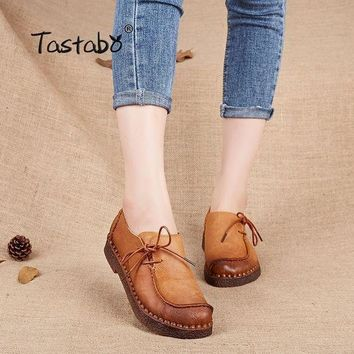 Tastabo Handmade vintage women shoes genuine leather female moccasins loafers soft Com