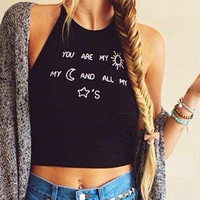 Sleeveless O-neck Letter Print Backless Straps Crop Top