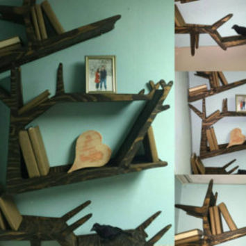 Handmade Tree Branch Bookshelf for Bedroom, Living Room or Nursery.