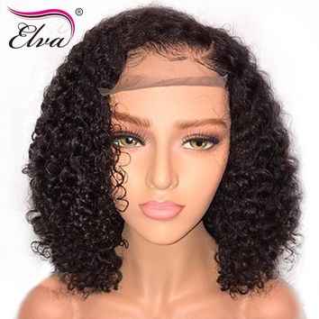 Elva Hair Short 13x6 Lace Front Human Hair Wigs Pre Plucked With Baby Hair Curly Brazilian Remy Hair Bob Wigs For Black Women