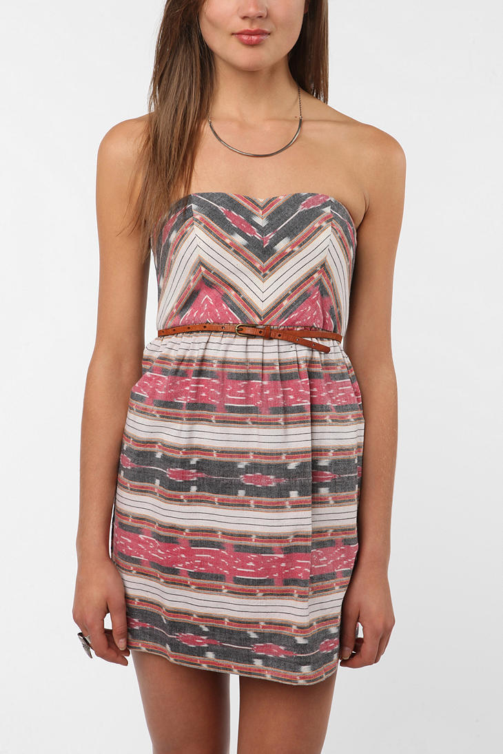 Staring at Stars Strapless Print Blocked Dress