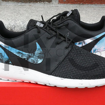 Nike Roshe Run Black White Marble Blue Palm Tree Print Custom