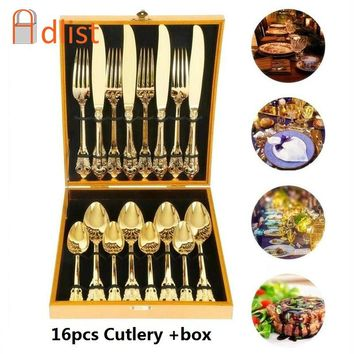 16pcs Stainless steel Dinnerware Golden Plated Wedding Cutlery Luxury Gold Flatware Christmas Gift Dinner set Retro Tableware