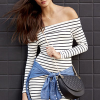 Along Those Lines Black and Ivory Striped Off-the-Shoulder Dress