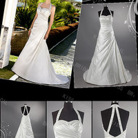 Elegant A-Line Halter Floor-Length Chapel Train beads and sequins Bridal Gowns