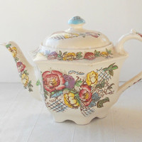 Vintage Sadler English Bone China Tea Pot, English Country, Tea Party, Weddings, Antique, Rose Garden, Hexagon, Ca. 1800's