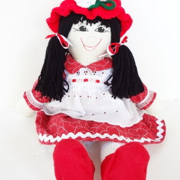 2 hats handmade rag doll soft body cloth fabric red sweetheart Mary Jane shoes black hair, NF142