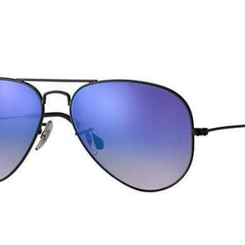 UCANUJ3V Ray Ban Aviator Sunglass Shiny Black Blue Gradient Mirrored RB 3025 002/4O