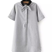 Grey Short Sleeve Dress with Black Collor Bow Tie
