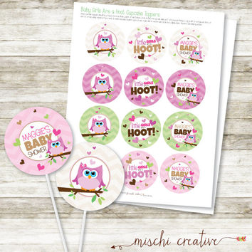 Little Girls are a Hoot, Owl Baby Girl Shower DIY Printable Cupcake Topper